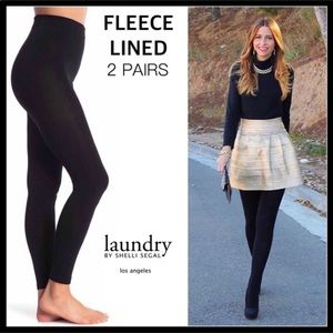 2 PAIRS BLACK FLEECE LINED LEGGINGS TIGHTS A2C